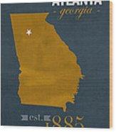 Georgia Tech University Yellow Jackets Atlanta College Town State Map Poster Series No 043 Wood Print