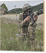 Georgian Army Sergeant Aims An M4 Wood Print
