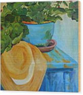 Geraniums And A Hat Wood Print