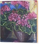 Geraniums Blooming Wood Print by Sherry Harradence