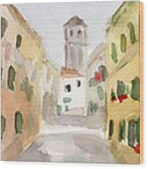 Geraniums Cannaregio Watercolor Painting Of Venice Italy Wood Print