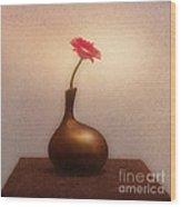Gerbera In Gold Vase Wood Print