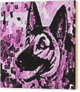 German Shepard In Purples Wood Print