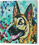German Shepard Watercolor Wood Print