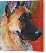 German Shepherd Dog Portrait Wood Print