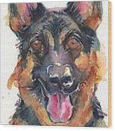 German Shepherd Watercolor Wood Print