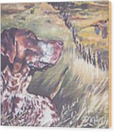 German Shorthaired Pointer And Pheasants Wood Print