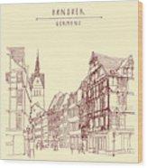 German Town, Walking Street, Timber Wood Print