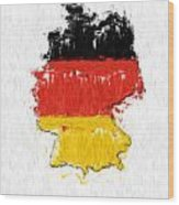 Germany Painted Flag Map Wood Print