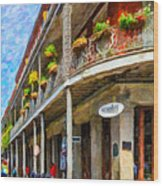 Getting Around The French Quarter - Watercolor Wood Print