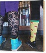 Getting Coffee In Portland Wood Print by Sherry Dooley