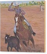 Getting Ready For Rodeo Wood Print