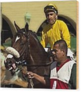 Getting Ready - Jockey And Horse For The Race Wood Print