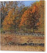 Gettysburg At Rest - Autumn Looking Towards The J. Weikert Farm Wood Print