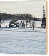 Gettysburg Farm In The Snow Wood Print