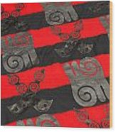 Ghana In Red And Black Wood Print