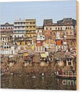 Ghats In The River Ganges At Varanasi In India Wood Print