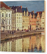 Ghent Waterfront Wood Print