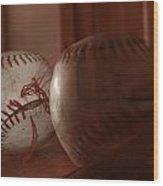 Ghost Baseball Wood Print by Emily Newby