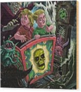 Ghost Train Fun Fair Kids Wood Print