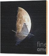 Ghostly Eurofighter Against A Full Moon Wood Print by Peter McHallam