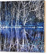 Ghostly Trees In Reflection Wood Print by ImagesAsArt Photos And Graphics