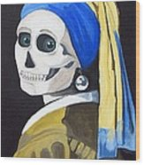 Ghoul With Pearl Earring Wood Print