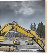 Giant Bulldozers In Action Wood Print
