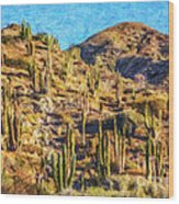 Giant Cordon Cactus Wood Print