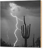 Giant Saguaro Cactus Lightning Strike Bw Wood Print