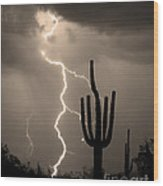 Giant Saguaro Cactus Lightning Strike Sepia  Wood Print by James BO  Insogna