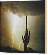 Giant Saguaro Lightning Spiral Fine Art Photography Print Wood Print