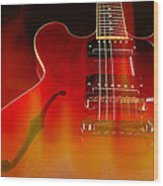 Gibson Es-335 On Fire Wood Print