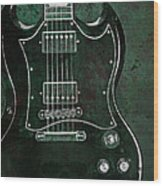 Gibson Sg Standard Green Grunge With Skull Wood Print