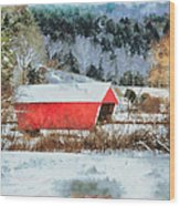 Gifford Covered Bridge In Winter Wood Print
