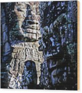 Gigantic Face Statues At Khmer Temple Angkor Wat Ruins Cambodi Wood Print