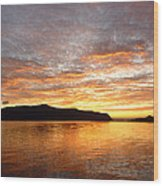 Gilded Fjord While The Sun Set Over Norwegian Mountains Wood Print