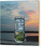 Gin And Tonic On The Deck Wood Print