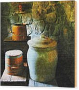 Ginger Jar And Buckets Wood Print