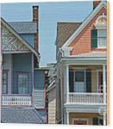 Gingerbread Beach Homes Pano - Ocean Grove Nj Wood Print by Anna Lisa Yoder