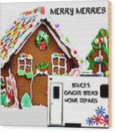 Gingerbread House Xmas Card 2 Wood Print