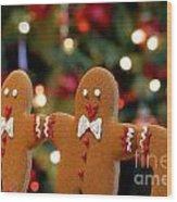 Gingerbread Men In A Line Wood Print