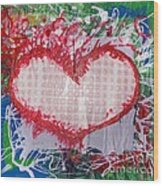 Gingham Crazy Heart Shrink Wrapped Wood Print