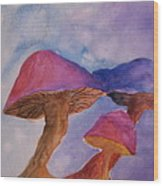 Gini's Shrooms Wood Print