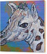 Giraffe - Baby Announcement Wood Print by Ella Kaye Dickey