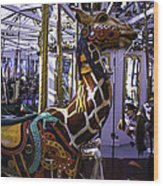 Giraffe Carousel Ride Wood Print