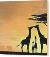 Giraffe Family Love Two Kids Wood Print
