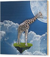 Giraffe Flying High Wood Print