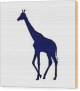 Giraffe In Navy And White Wood Print