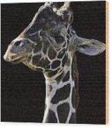 Giraffe In The Morning Pixelated Wood Print